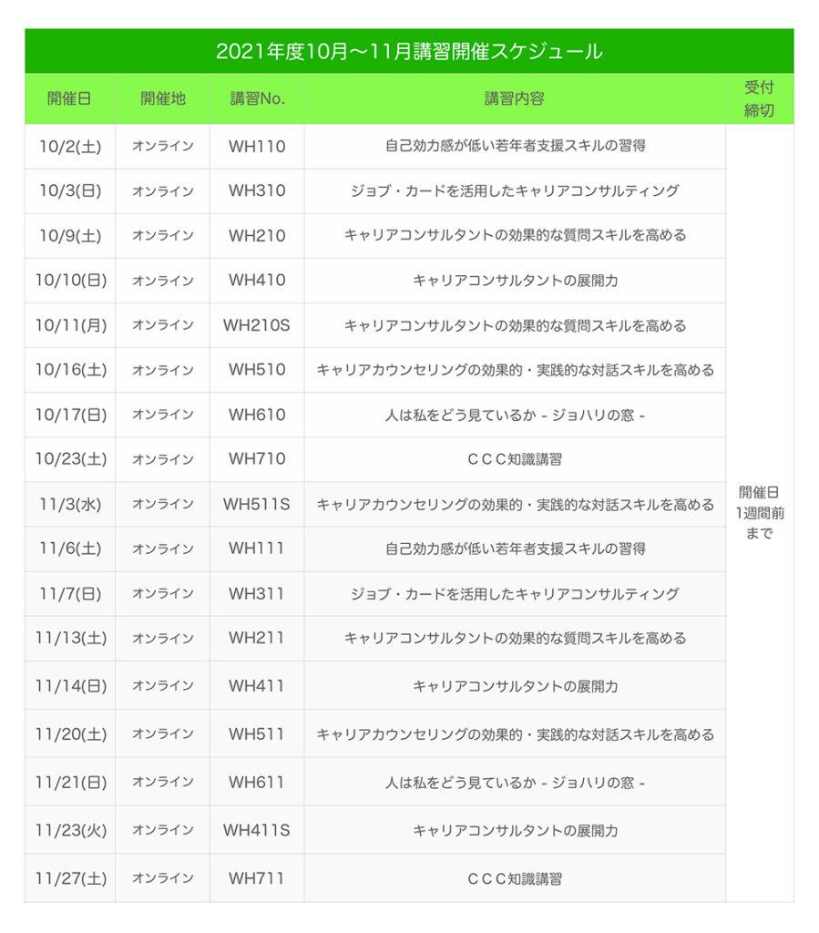 キャリアコンサルタント更新講習のスケジュール2021年10月〜11月